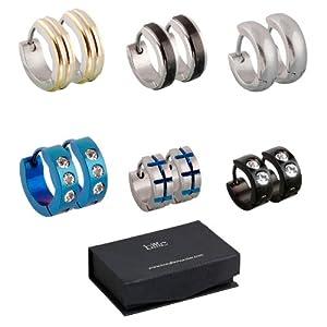 BMC 6pc Mens Stainless Steel Fashionable Multicolor Crystal Studded 4mm Luxury Hinge Snap Hoop Earrings Lot - Set 2