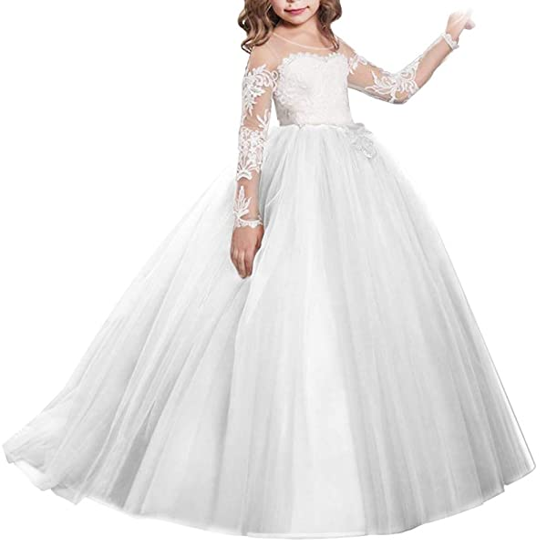 Fymnsi Flower Girls Lace Appliques Wedding Tulle Dress First