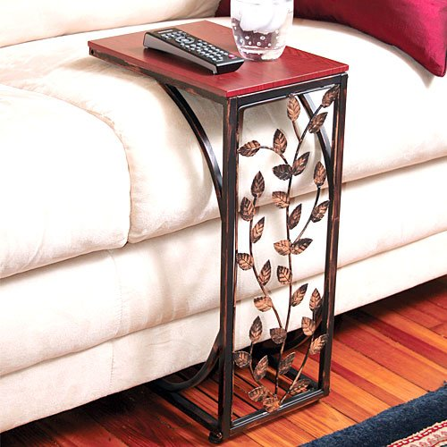 New leaf scroll design sofa end coffee table slide under for Sofa side table designs