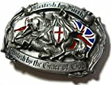 'British by Birth - English by the Grace of God' BELT BUCKLE + display stand
