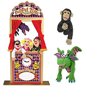 Melissa & Doug Deluxe Puppet Theater Bundle with Dragon, and Bannanas the Chimp Puppets from Melissa & Doug