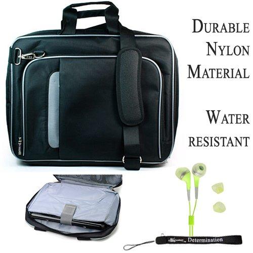 Pro Messenger Bag Soft Nylon Carrying Case (Black Silver) For Dell Inspiron Mini 10S Netbook + Green Hd Earphones