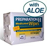 144 Wipes Preparation H Medicated Wipes Refill with Aloe - 3 packs of 48 Wipes