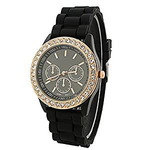 Fashion Silicone Golden Crystal Stone Quartz Ladies Jelly Wrist Watch Black