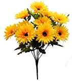 Fourwalls Artificial Synthetic Gerbera Flower Bunch (10 Flowers, Yellow, 46 cm)