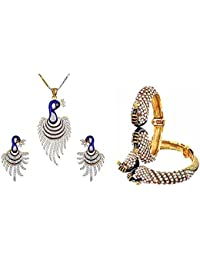 Zeneme Women's Pride Collection Combo Of Dancing Peacock Bangles And Pendant Set With Chain And Earrings