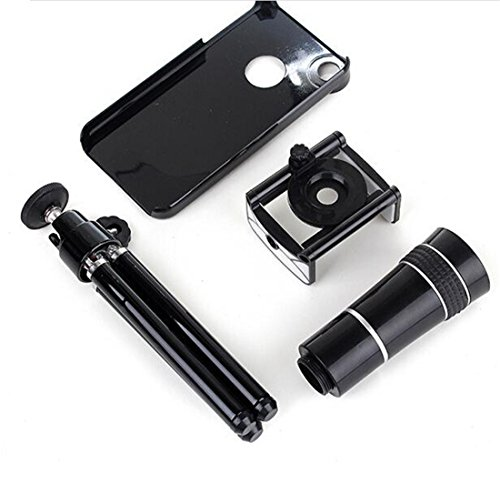 Universal Mobile Phone External Camera Lens With A 10X Zoom Telescope Stand For The Apple Phone Ipho Black Color