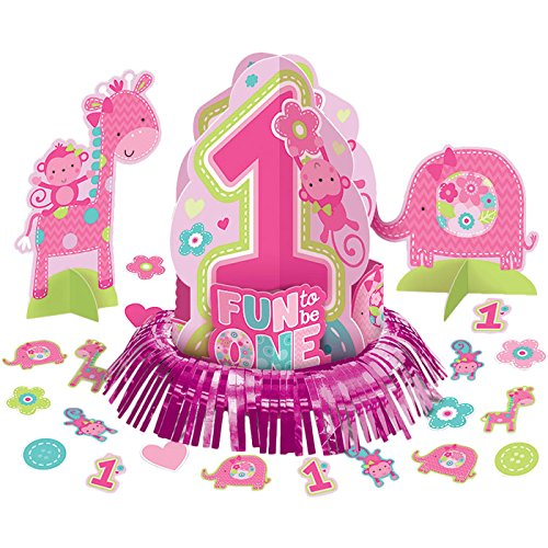 Amscan One Wild Girl 1st Birthday Table Decorating Kit, Medium, Pink