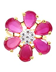 Affinity Jewellers Beautiful Floral American Diamond Red Ring Gold Plated