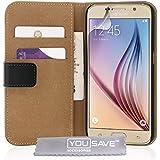 Yousave Accessories Samsung Galaxy S6 Tasche Schwarz Echt Leder Brieftasche H�lle