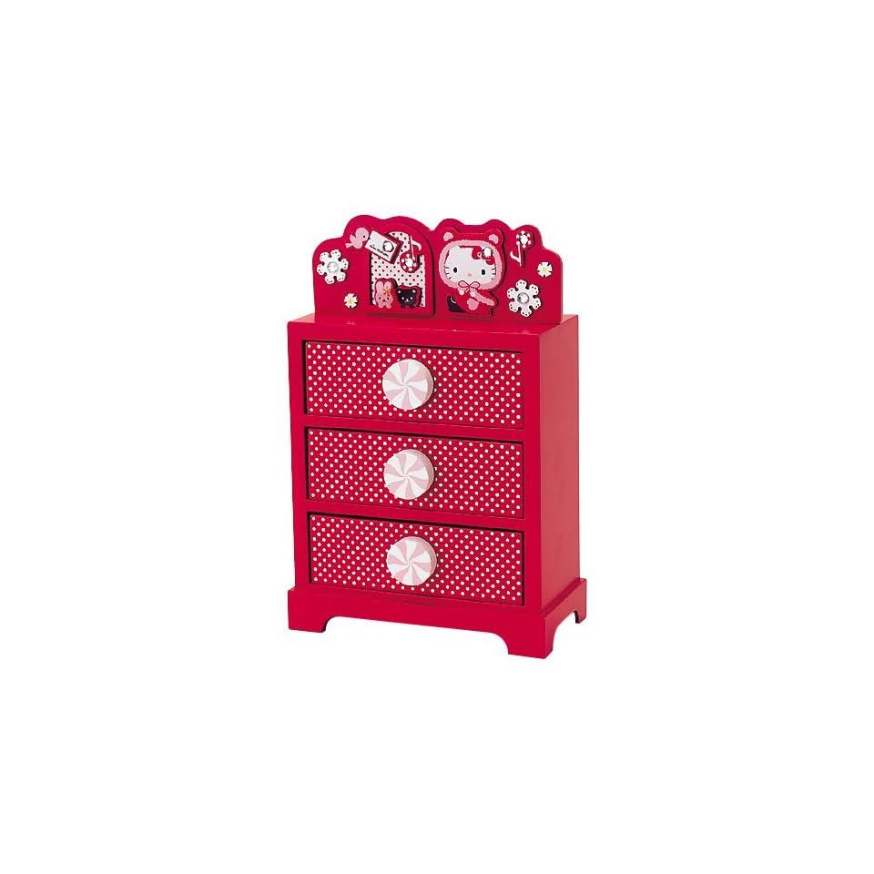 Sanrio Hello Kitty Xmas 3 drawer Storage Wood Japan Toys
