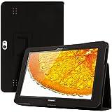 kwmobile® Edle Kunstlederhülle für Huawei MediaPad 10 FHD in Schwarz mit praktischer STÄNDERFUNKTION
