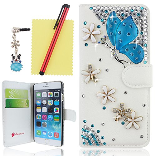 """Ancerson PU Leather Case for Apple iPhone 6 (4.7"""") Blue Butterfly Fairy Angel Girl Spirit Lady Elegant Goplden White Daisy Flower 3D Handmade Luxury Sparkly Shining Glitter Crystal Diamond Rhinestones Magnetic Magnet Buckle Built-in Credit/ ID Card Wallet Purse Slot Pocket Slim Protective Flip Folio Stand Cover Pouch Shell Skin with a Red Stylus Touchscreen Pen, a 3.5mm Universal Crystal Diamond Rhinestones Bling Lovely Silvery Flower Blue Panda Pendant Dust Plug Earphone Jack and a Cleaning Cloth (White)"""