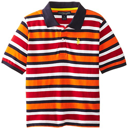 U.S. Polo Assn. Big Boys' Short Sleeve Stripe Cotton Pique With Small Pony, Summer Orange, 10/12