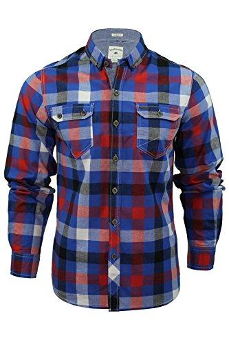 Mens Camicia a quadri di Lee Cooper 'Hadleigh' Maniche lunghe (True Blue) XL