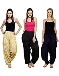 Fashion Store Women's Cotton Patiala Salwar Combo ( Beige , Black & Navy Blue & Free Si