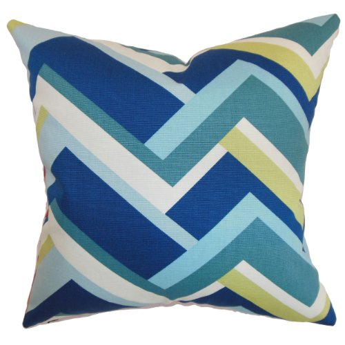 The Pillow Collection Hoonah Geometric Pillow, Aqua Green