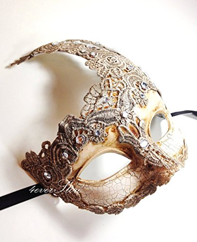 New! Toga Party Special - Venetian Goddess Masquerade Mask Made of Resin, Paper Mache Technique with High Fashion Macrame Lace & Rhinestones [Ivory] by BeyondGlobalCorp (Paper Mache Masquerade Mask compare prices)