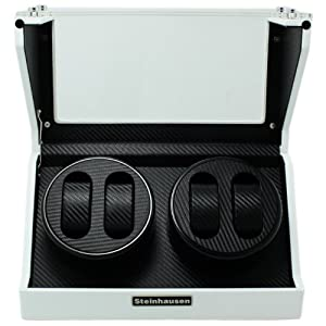 Steinhausen TM1022WCF 4-Mode White Lacquer Coated Wood Watch Winder