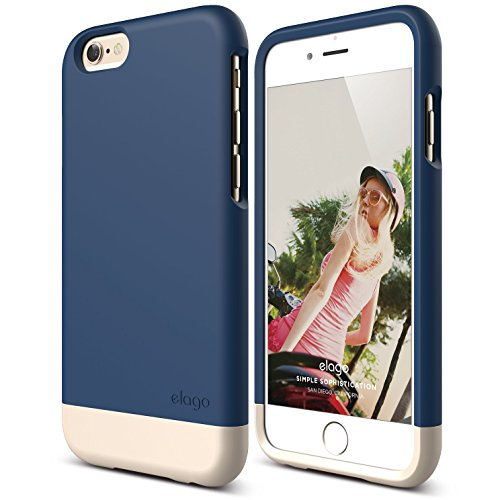 iPhone 6 Case, elago [Glide][Jean Indigo / Champagne Gold] - [Mix and Match][Premium Armor][True Fit] - for iPhone 6 Only (Iphone 6 Plus Case Flat Sides compare prices)