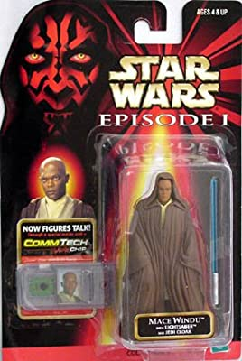 Star Wars Episode I Commtech Chip Mace Windu With Lightsaber And Jedi Cloak Action Figure from Hasbro