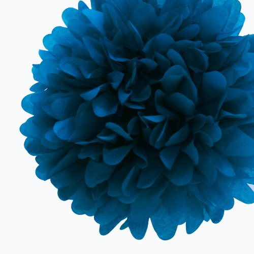 """Dress My Cupcake Mini 5"""" Peacock Tissue Paper Pom Poms, Set Of 8 - Aqua Tissue Paper Flowers, Peacock Party Decorating Ideas front-82640"""