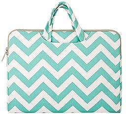 Mosiso Chevron Style Canvas Fabric Laptop Briefcase Handbag Case Cover for 15-15.6 Inch MacBook Pro, Notebook Computer, Hot Blue