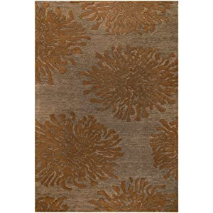 2' x 3' Bombay Goldenrod, Sepia & Ochre Chrysanthemum Flower Medallion Throw Rug