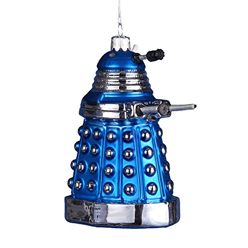Kurt Adler Doctor Who Glass Dalek Ornament, 5-Inch, Blue