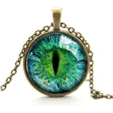CosCosX 1 PCS Photo Prismatic Vintage Dragon Cat Eye Glass Cabochon Silver Plated Pendant Necklace
