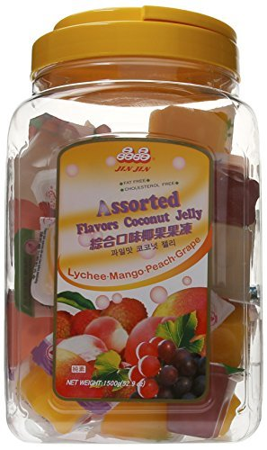 Jin Jin Assorted Fruit Coconut Candy Lychee Mango Peach and Grape Jelly Cups 52.9 Ounce Container by Jin Jin Assorted Coconut Jelly Candy (Jin Jin Jelly compare prices)