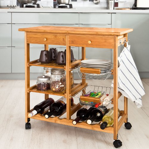 SoBuy Kitchen Trolley ,Kitchen Cart, Kitchen Island,Serving Cart (Bamboo Kitchen Carts And Islands compare prices)