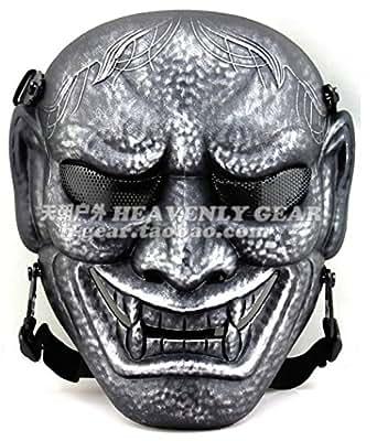 Hannya Style Wire Mesh Skull Mask with Belt [ GunMetal ] Lightwaight Type
