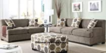 Hot Sale Poundex Montereal 2-Piece Sofa and Loveseat Collection Set with Faux Linen, Slate Color