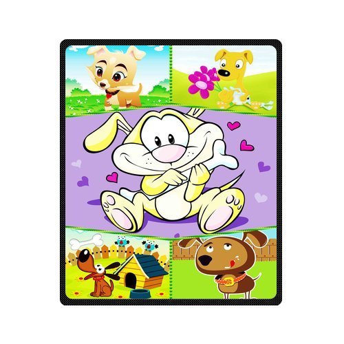 "Personalized Cute Dogs Jigsaw Blanket 50""X 60""(Medium) front-831869"