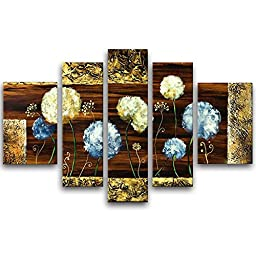 Wieco Art - Dandelion Kites Modern Flowers 5 Panels 100% Hand Painted Stretched and Framed Abstract Floral Oil Paintings on Canvas Wall Art Works for Dining Room Bedroom Kitchen Home Decorations