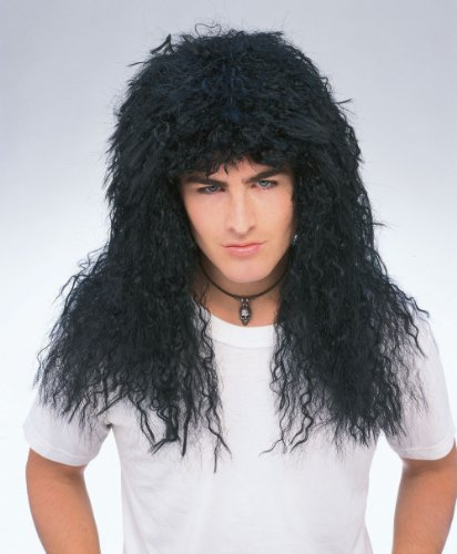 Black New Wave 1980's Hair Band Metal Wig 50750 Features