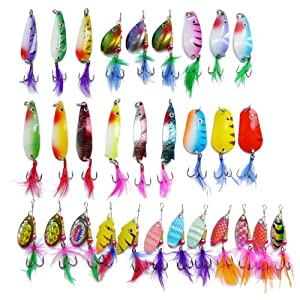 30 Spinner Super New Fishing Lure Pike Salmon Bass T10