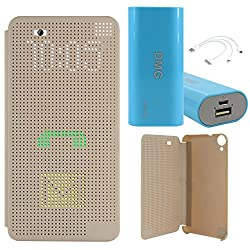 DMG Dot View Interactive Flip Cover Case for HTC Desire 820 (Gold) + 3600 mAh Power Bank