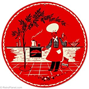 Cookout Red Apron Round Metal Sign