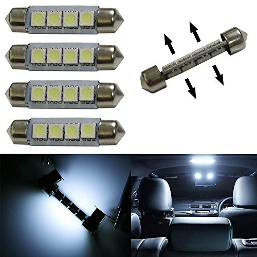 """iJDMTOY (4) Xenon White Double Side 8-SMD 1.72"""" 578 211-2 LED Bulbs For Car Interior Map Dome Lights"""