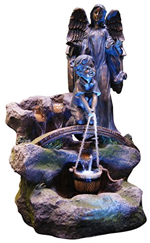 Alpine USA754L Barrel Fountain with Bronze Angel and LED Light