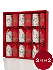 6 Red & White Connoisseur Christmas Crackers
