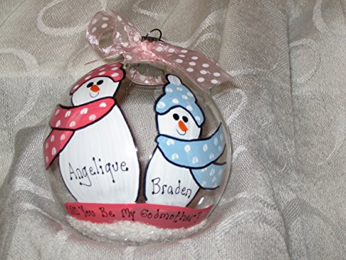Will You Be My Godmother? - Hand-painted personalized ornament (Personalized Godmother Ornament compare prices)