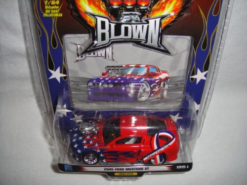 1 BADD RIDE BLOWN IV EDITION RED WITH STARS AND BLUE FLAMES SUPPORT OUR TROOPS 1:64 SCALE 2005 FORD MUSTANG GT - 1
