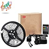 Vinus® IR Music Sound Activated 5M 5050 RGB Waterproof 300LEDs RGB Flexible Color Changing LED Strip Kit with 20-key Music Sound Sense IR Controller + 12V 5A Power Supply For Xmas Lighting Indoor Outdoor Backlighting Wedding Decoration