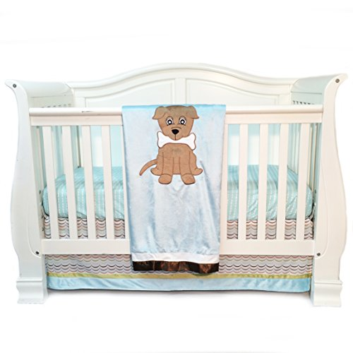 One Grace Place Puppy Pal Boy Infant Crib Bedding Set, Powder Blue/Sage Green