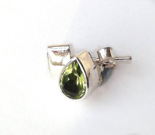 Shanya Sterling Silver Stud Earrings Green Peridot Pear Faceted 5x7 mm