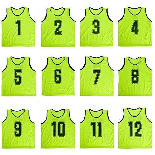 TopTie Numbered Scrimmage Team Practice Mesh Jerseys Vests Pinnies (12-Pack) - Green,Adult (Numbered Shirts compare prices)