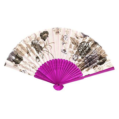 Bamboo Ribs tissu pliables Fleurs Imprimer Fan Main Beige Fuchsia
